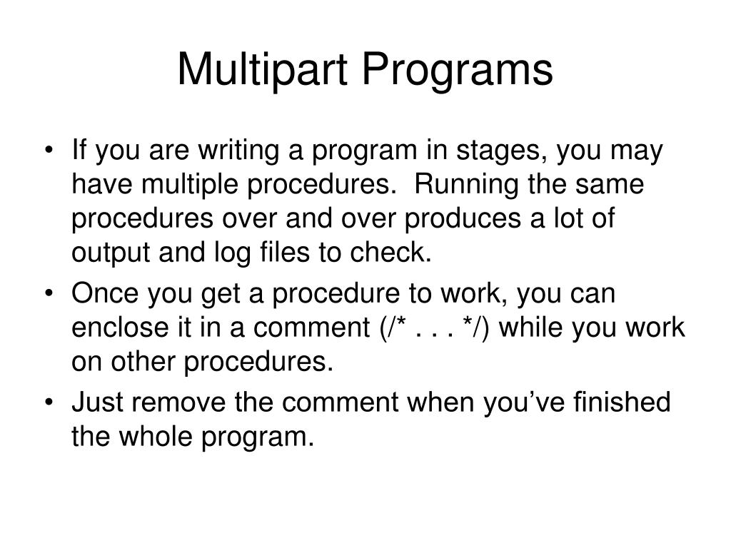 Multipart Programs