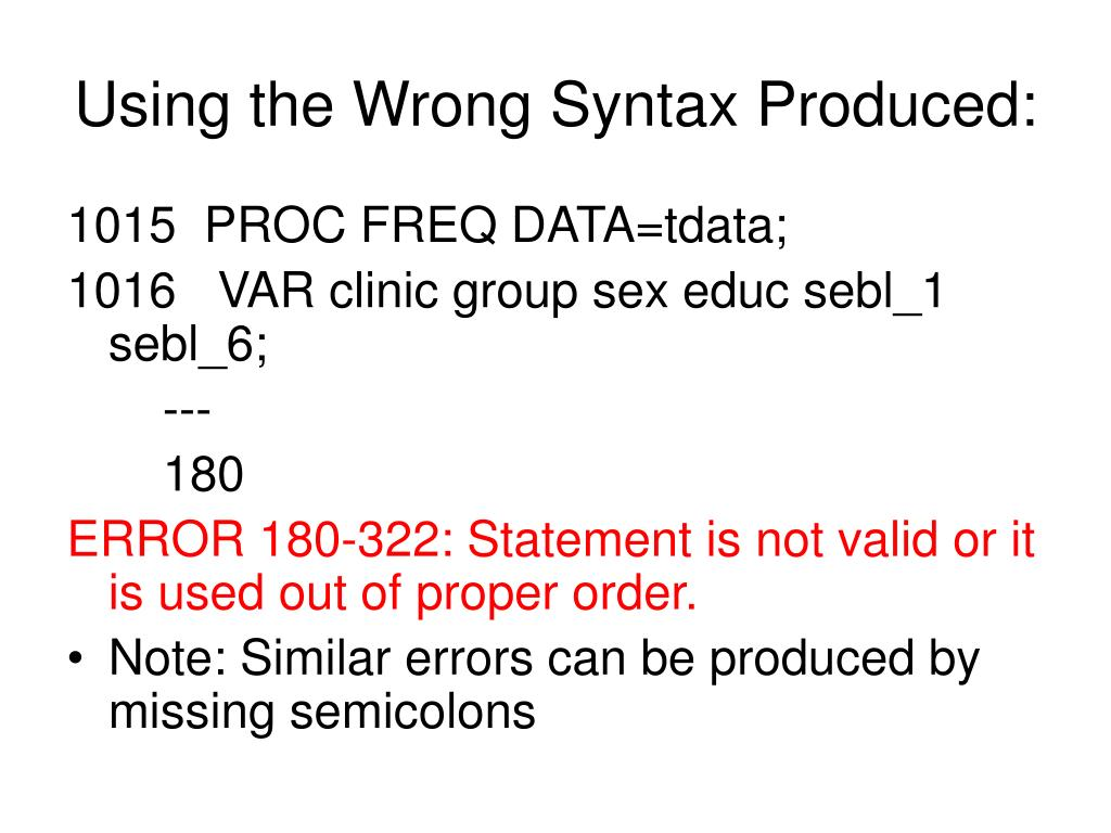 Using the Wrong Syntax Produced: