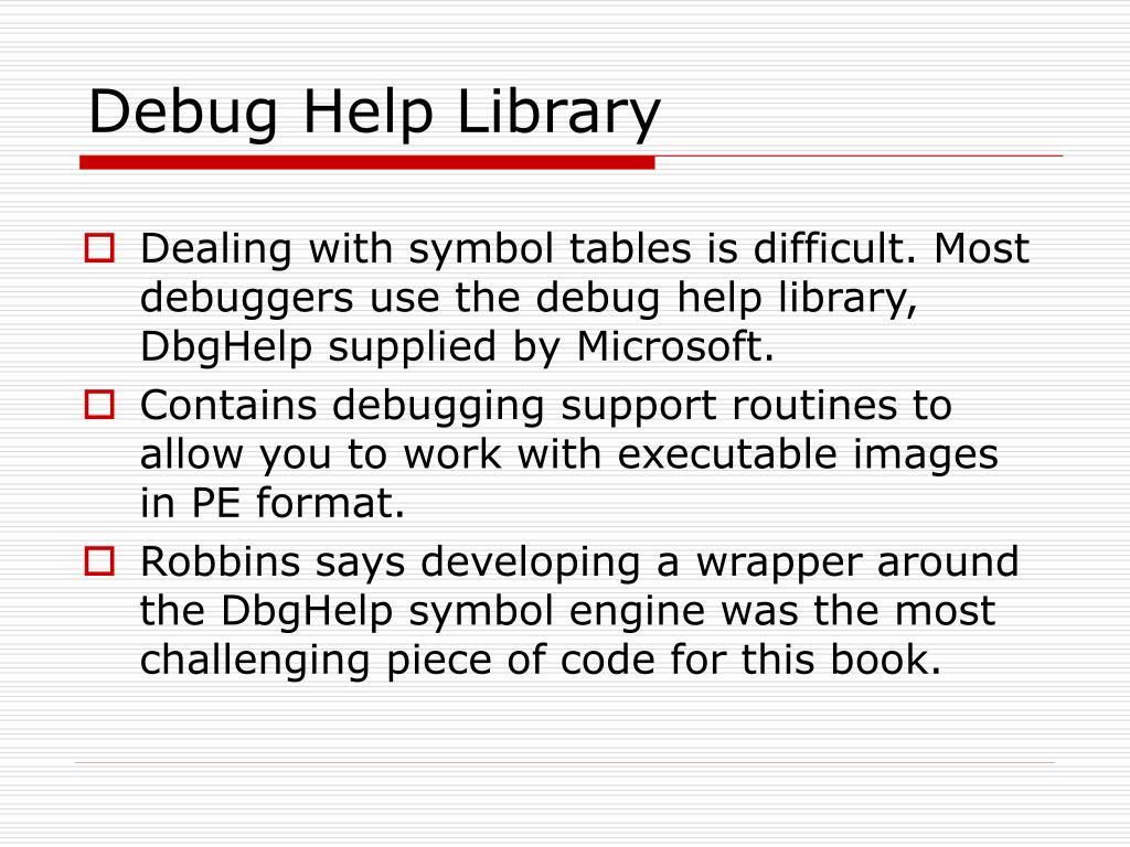 Debug Help Library