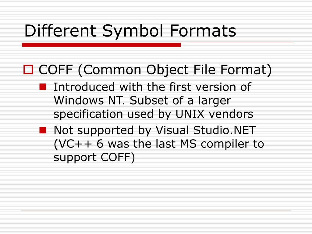 Different Symbol Formats