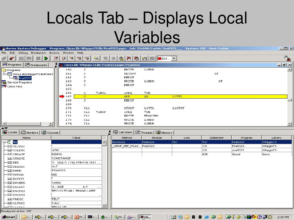 Locals Tab – Displays Local Variables
