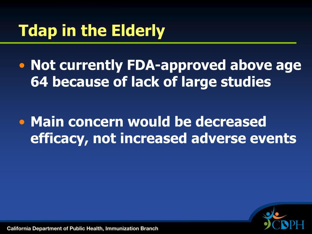 Tdap in the Elderly