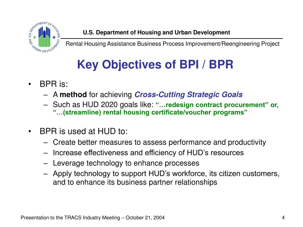 Key Objectives of BPI / BPR