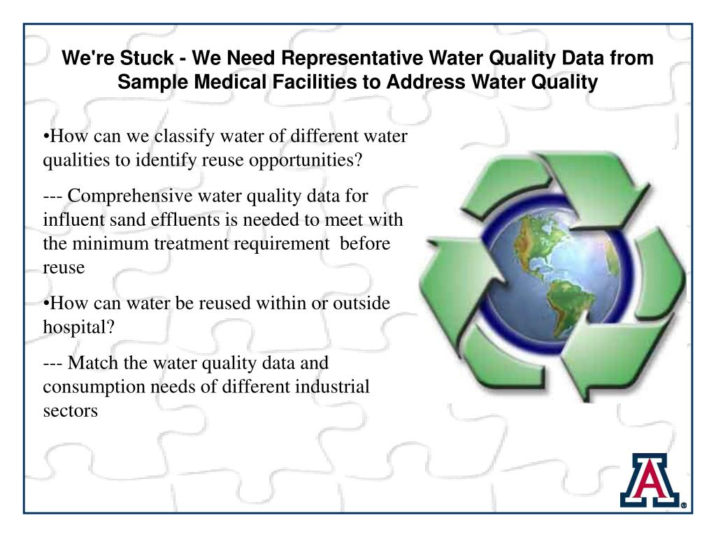 We're Stuck - We Need Representative Water Quality Data from        Sample Medical Facilities to Address Water Quality