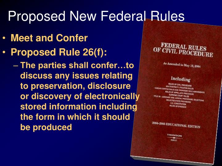 Proposed new federal rules