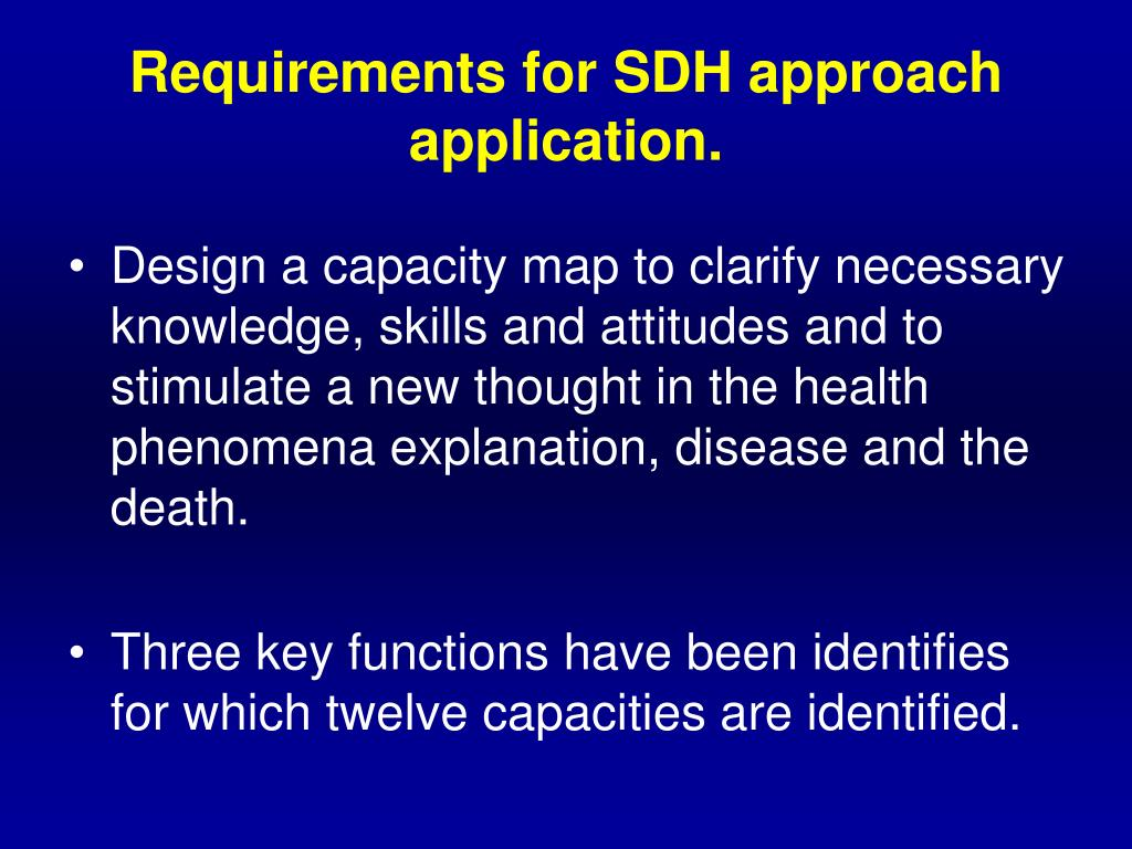 Requirements for SDH approach application.