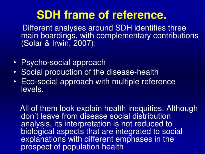 Sdh f rame of reference