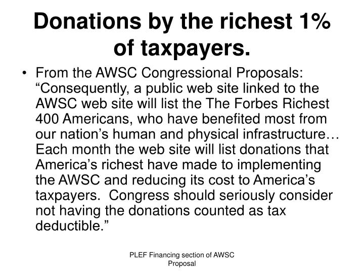 Donations by the richest 1% of taxpayers.