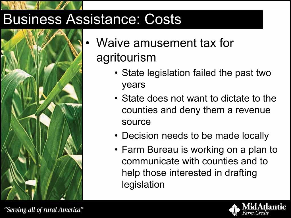 Business Assistance: Costs