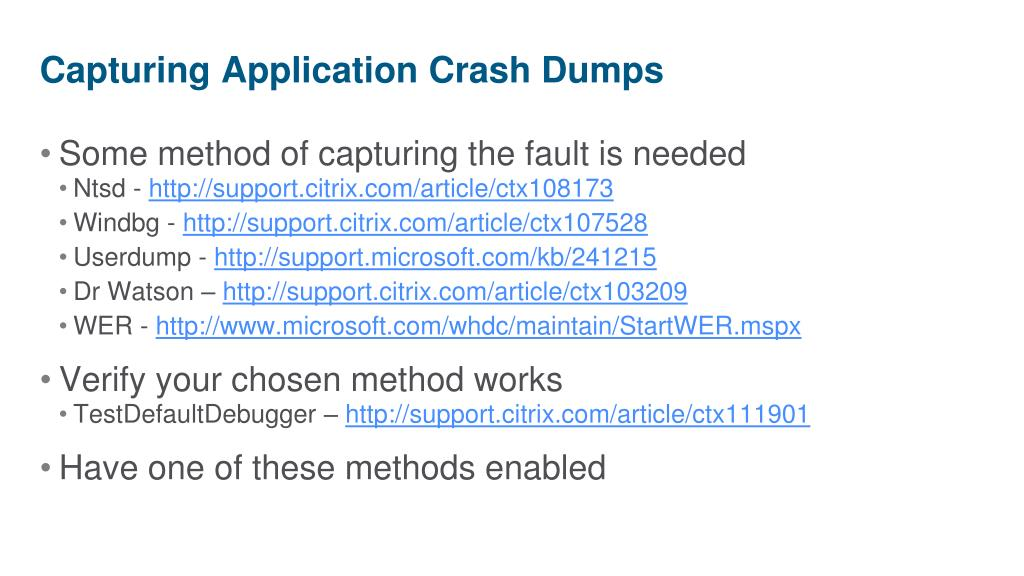 Capturing Application Crash Dumps