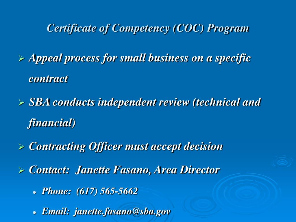 Certificate of Competency (COC) Program
