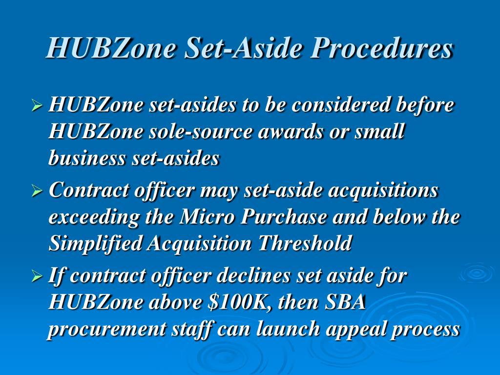 HUBZone Set-Aside Procedures