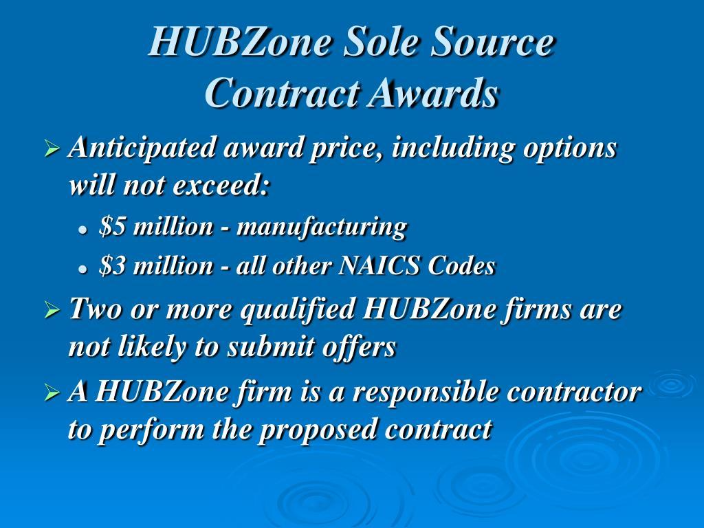 HUBZone Sole Source