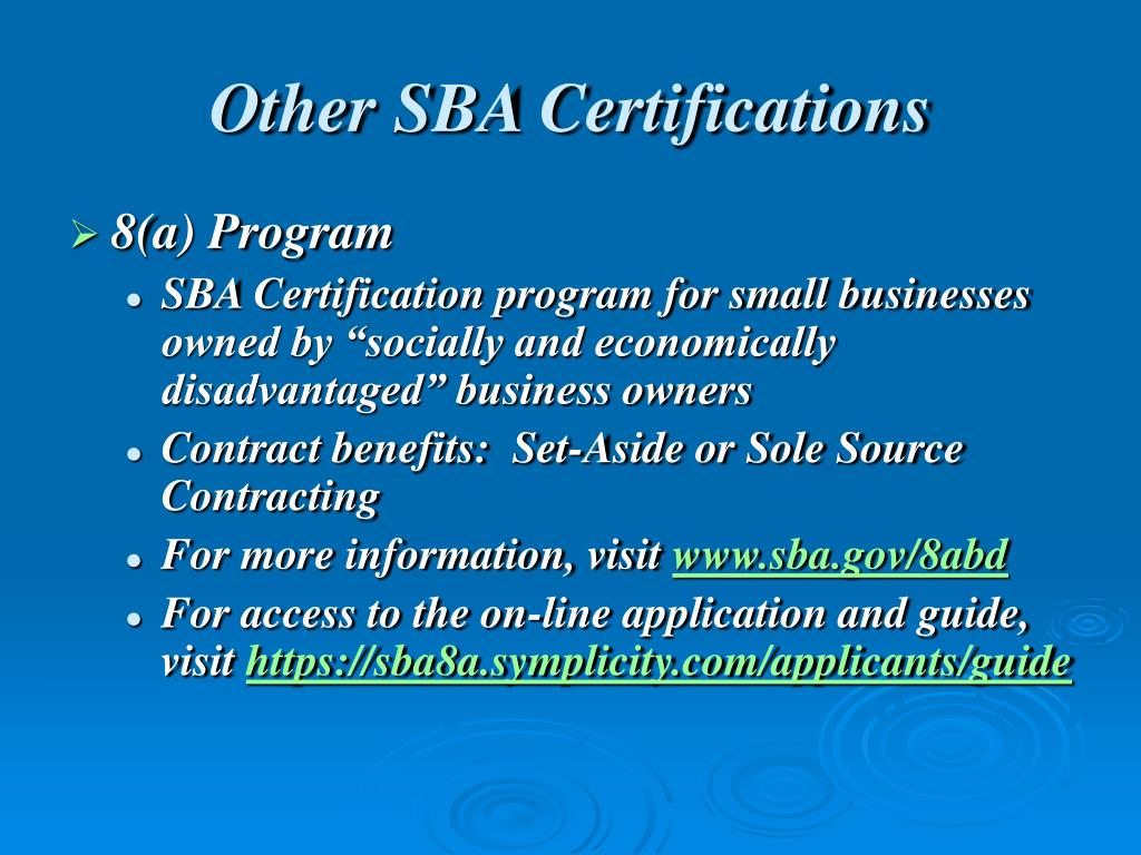 Other SBA Certifications