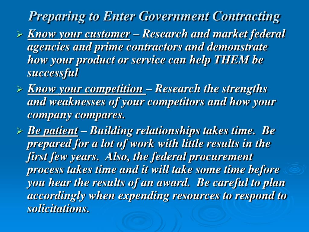 Preparing to Enter Government Contracting