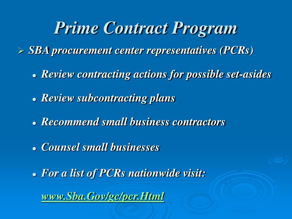 Prime Contract Program