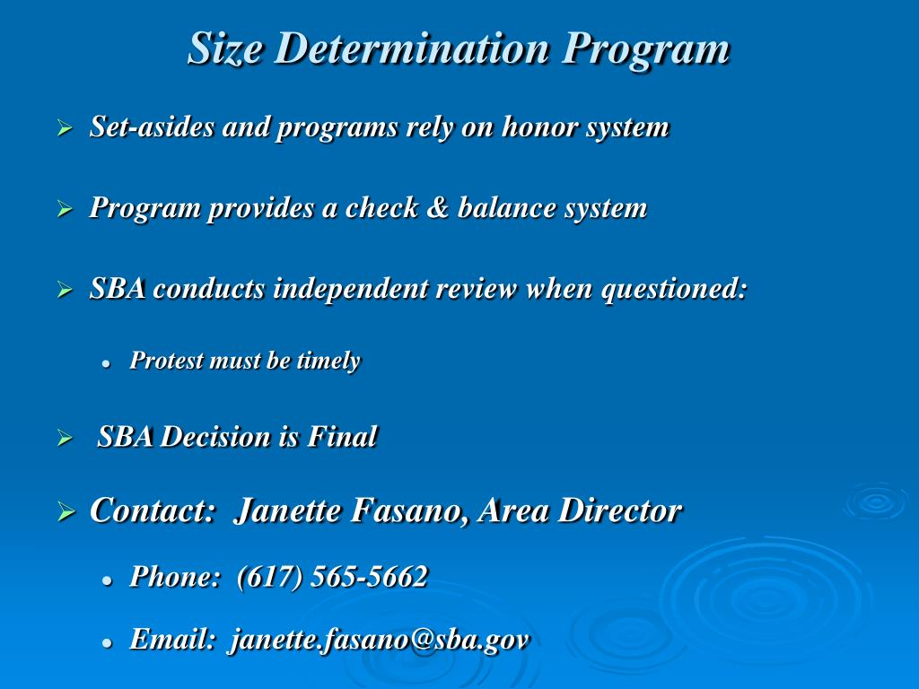 Size Determination Program