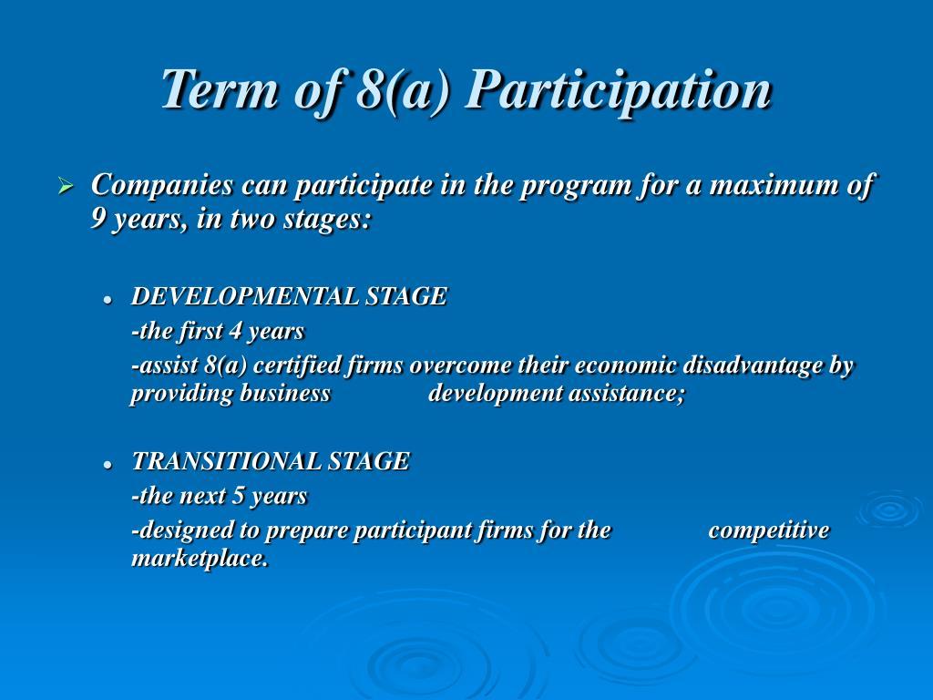 Term of 8(a) Participation