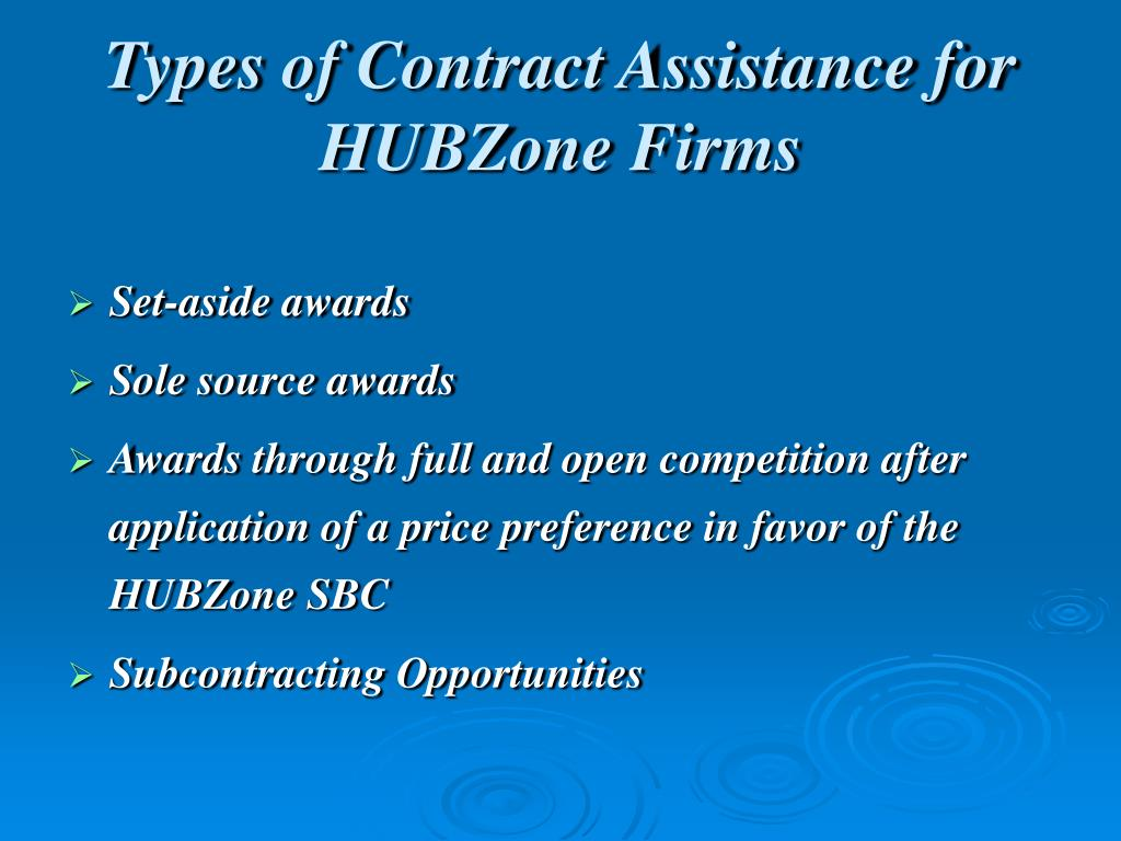 Types of Contract Assistance for HUBZone Firms