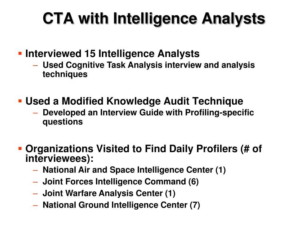 CTA with Intelligence Analysts