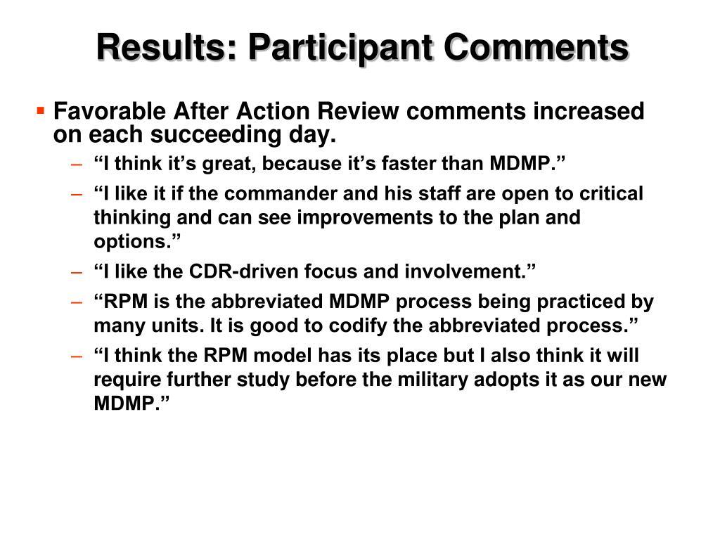 Results: Participant Comments