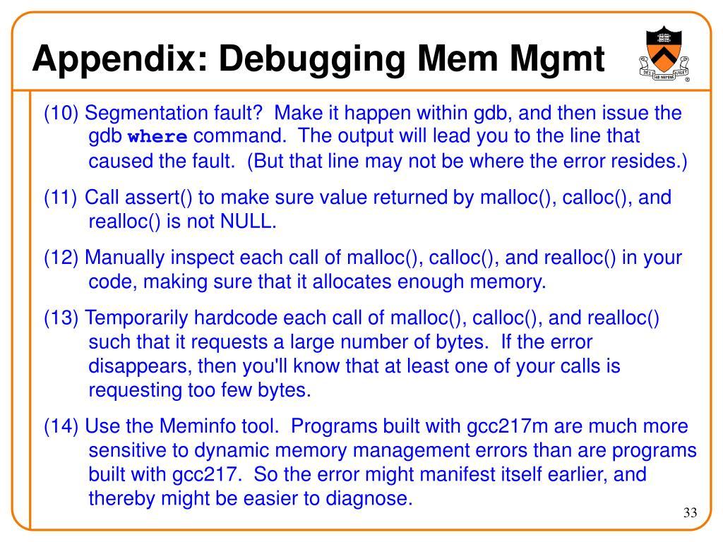 Appendix: Debugging Mem Mgmt