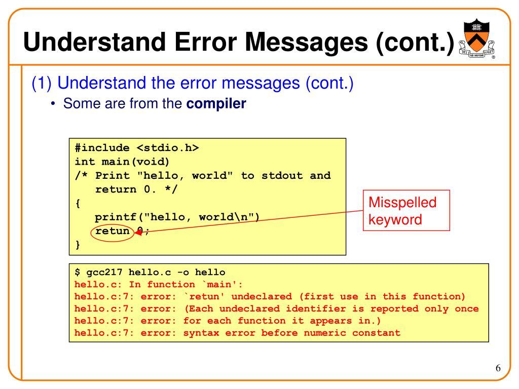 Understand Error Messages (cont.)