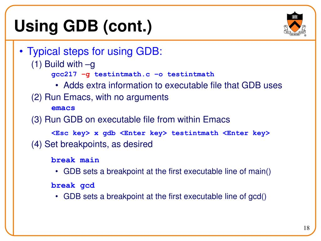 Using GDB (cont.)
