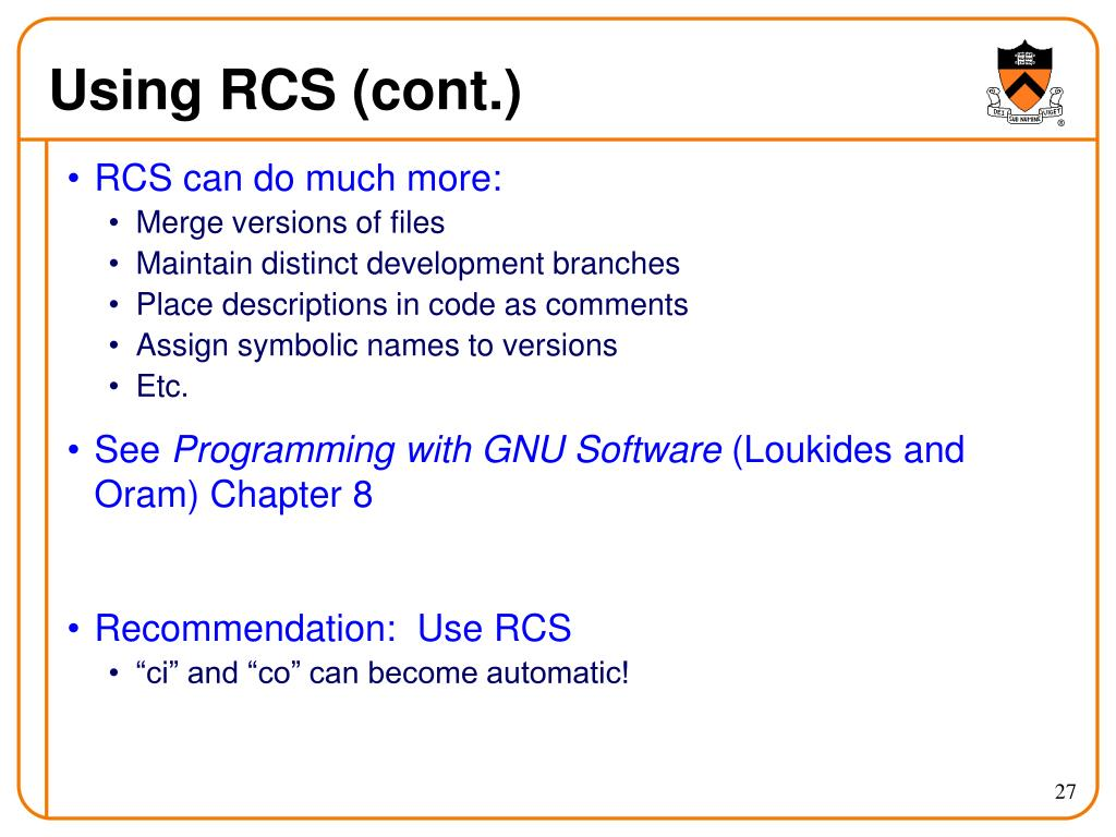 Using RCS (cont.)