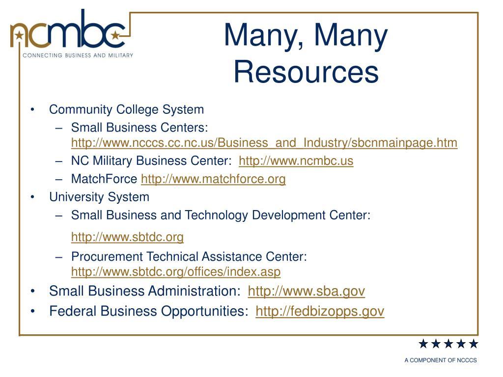 Many, Many Resources