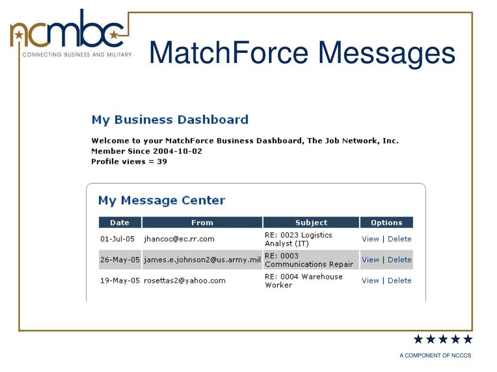 MatchForce Messages
