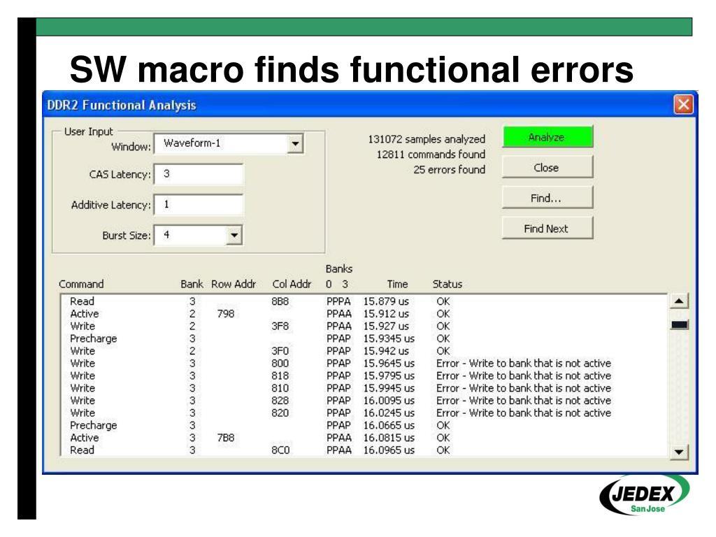 SW macro finds functional errors