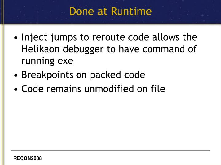 Done at Runtime