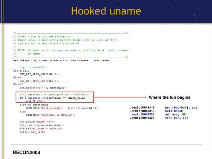 Hooked uname