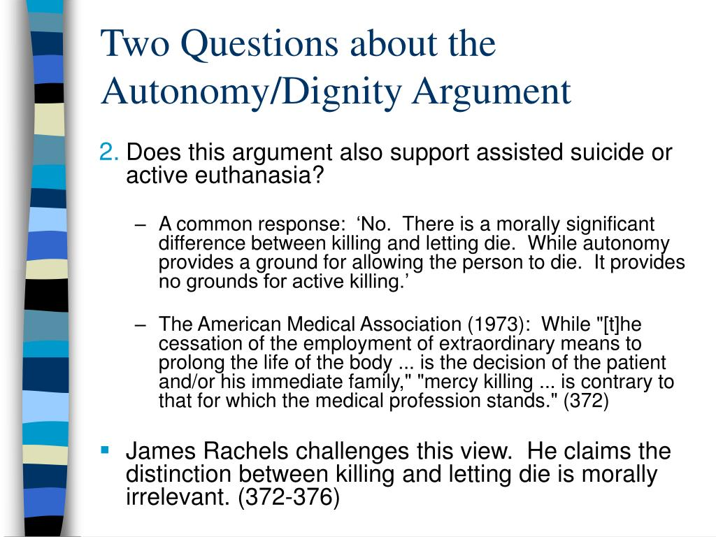 an analysis of james rachels view on euthanasia An analysis of james rachels' view on euthanasia (1723 words, 6 pages) james rachels' death and dying james rachels is one of the most controversial philosophers talked about in today's society one of his most talked about topics is whether a person has a right to die or not not much is known about rachels expect for the many.