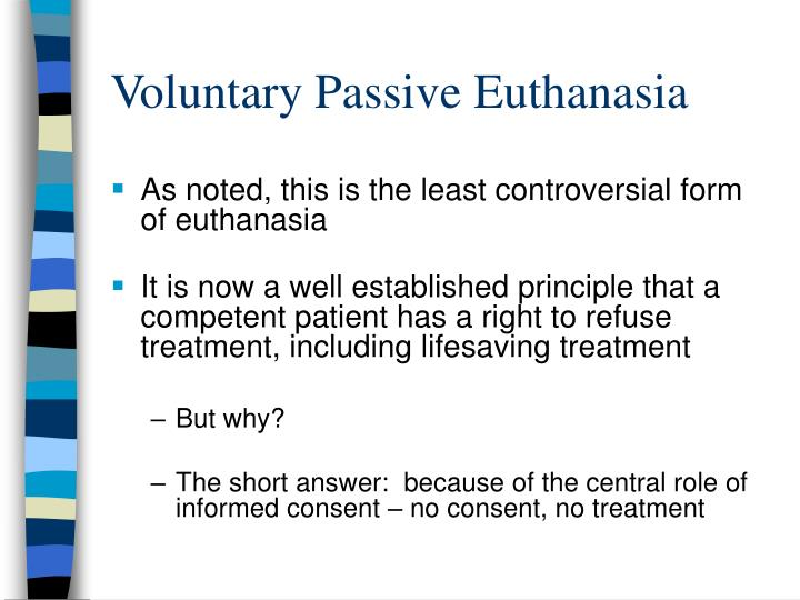 a comparison of the issues of active and passive euthanasia Euthanasia is the theme that starts much controversy, just like capital punishment does, mainly because it is irreversible most people would not even like to raise the question whether euthanasia is right or wrong however, recent changes in the laws about euthanasia provoked the new euthanasia debate the issues that were raised, made.