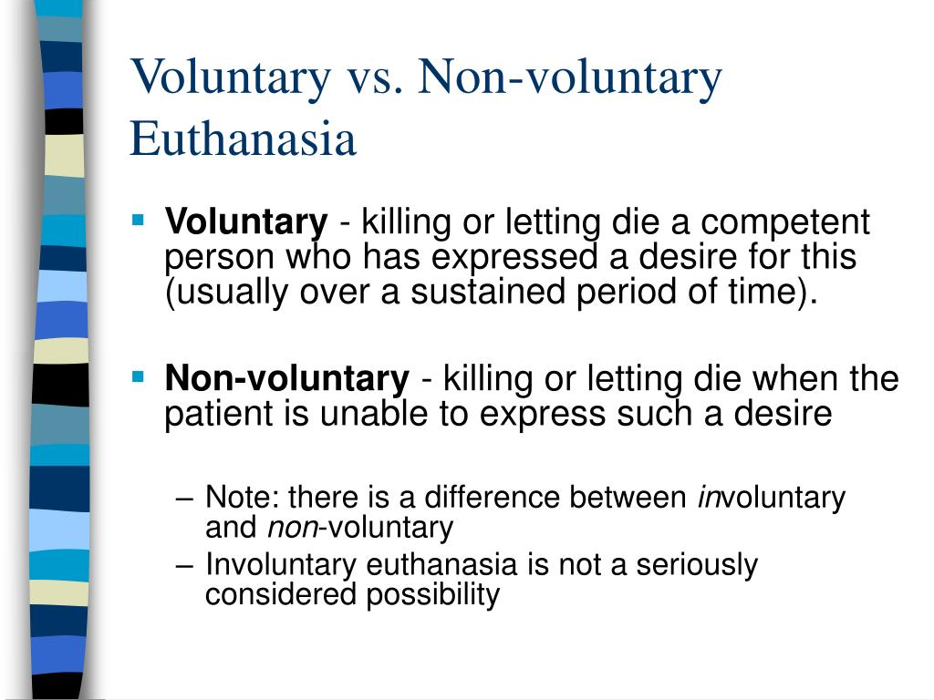 voluntary involuntary and non voluntary euthanasia essay The ethics of euthanasia  of essays on euthanasia the pro essay is written  distinction between voluntary, non-voluntary and involuntary forms.