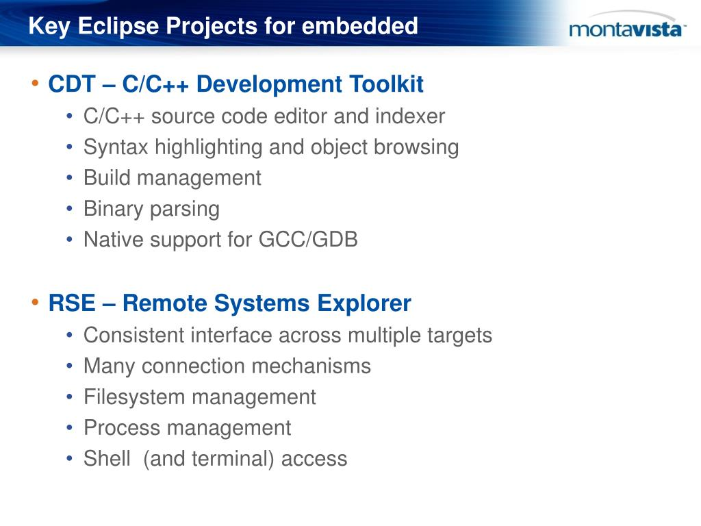 Key Eclipse Projects for embedded