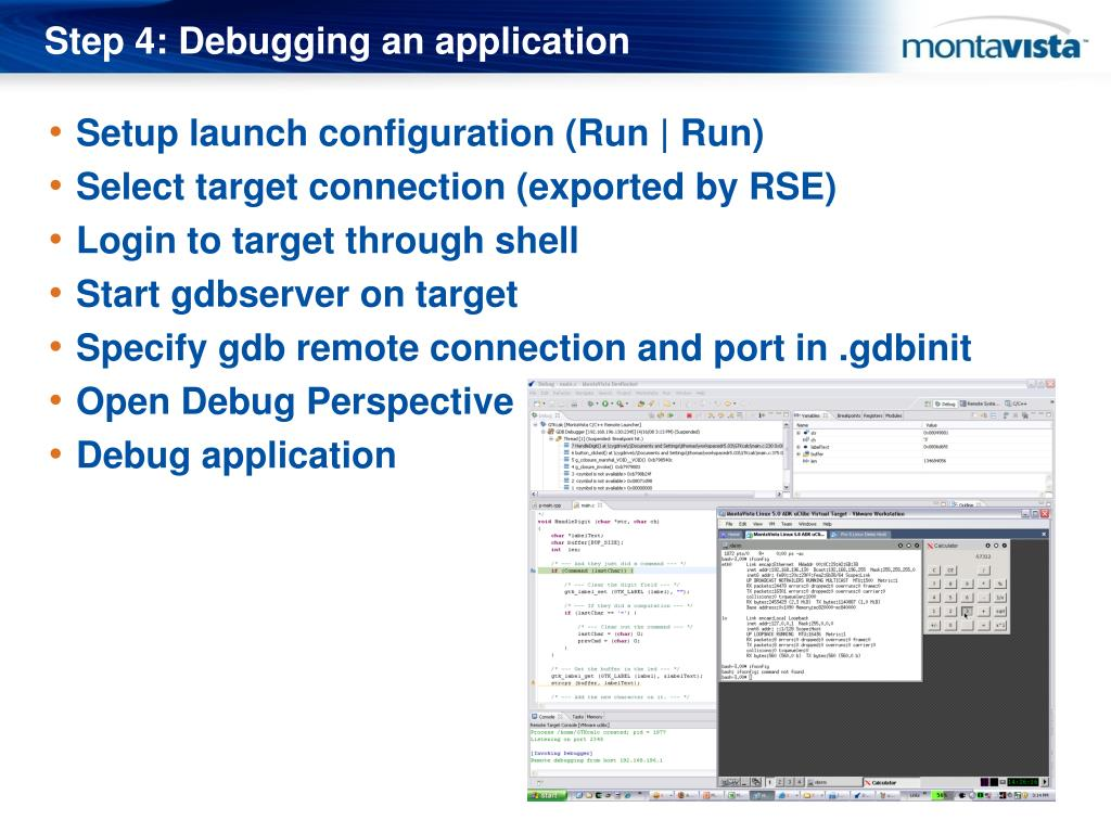 Step 4: Debugging an application