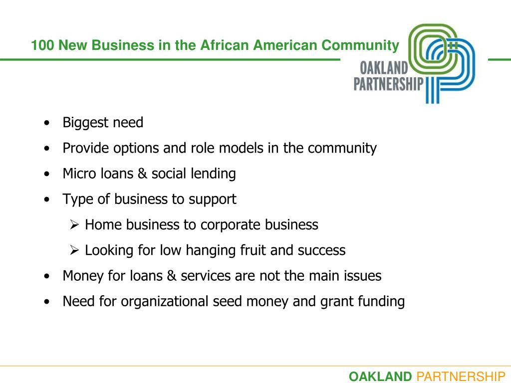 100 New Business in the African American Community