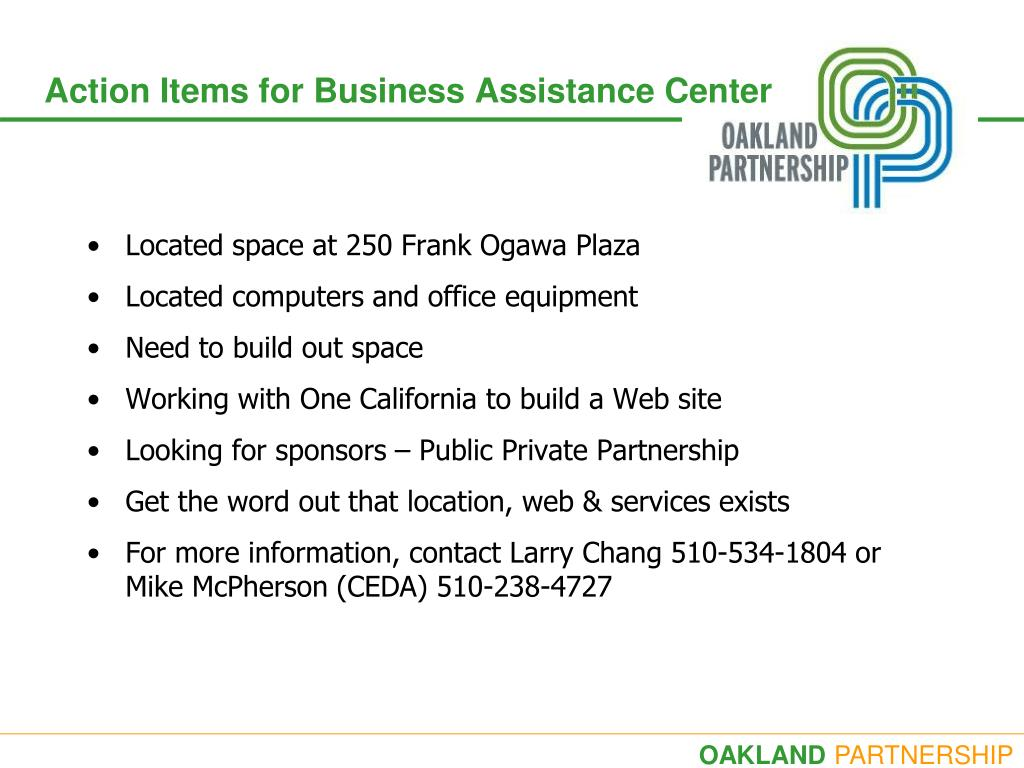 Action Items for Business Assistance Center