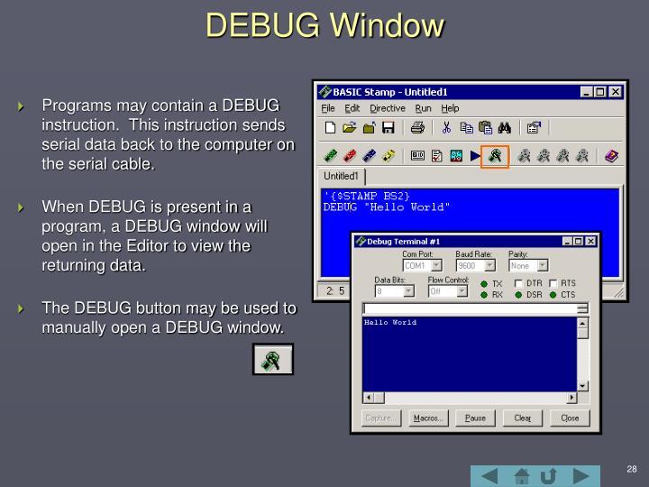 DEBUG Window
