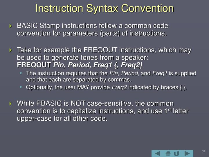 Instruction Syntax Convention