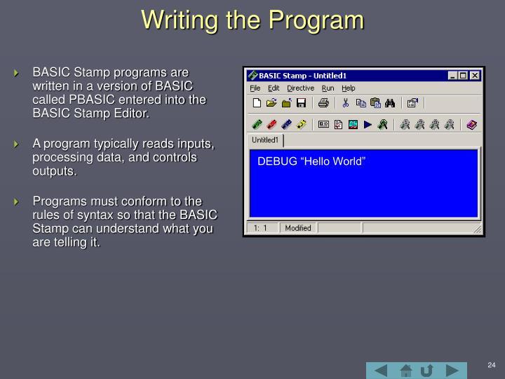 Writing the Program