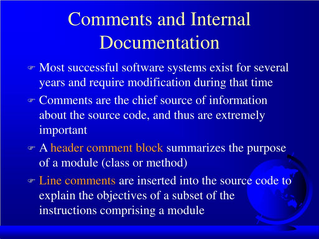 Comments and Internal Documentation
