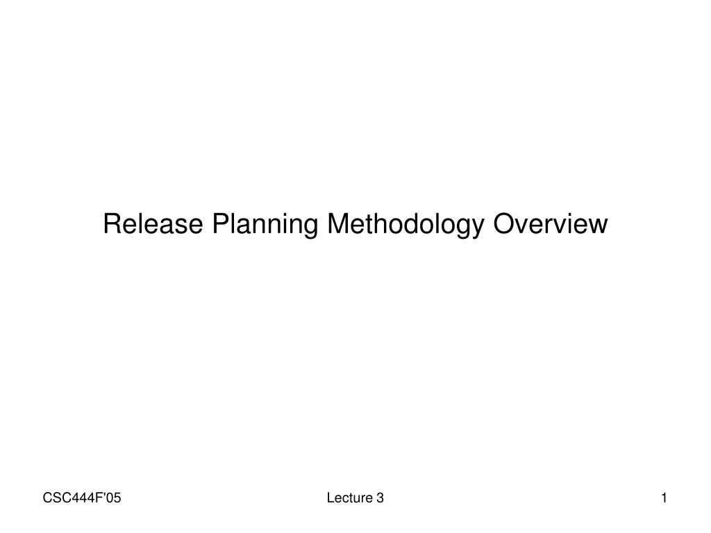 Release Planning Methodology Overview