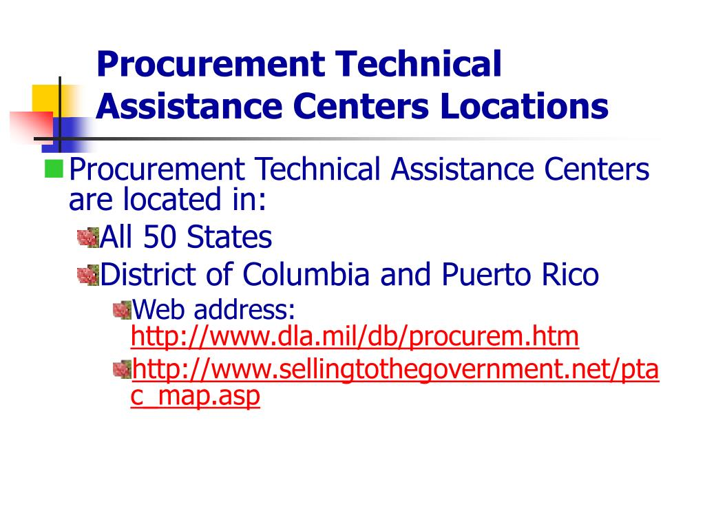 Procurement Technical Assistance Centers Locations