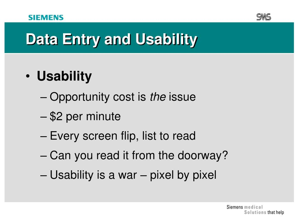Data Entry and Usability