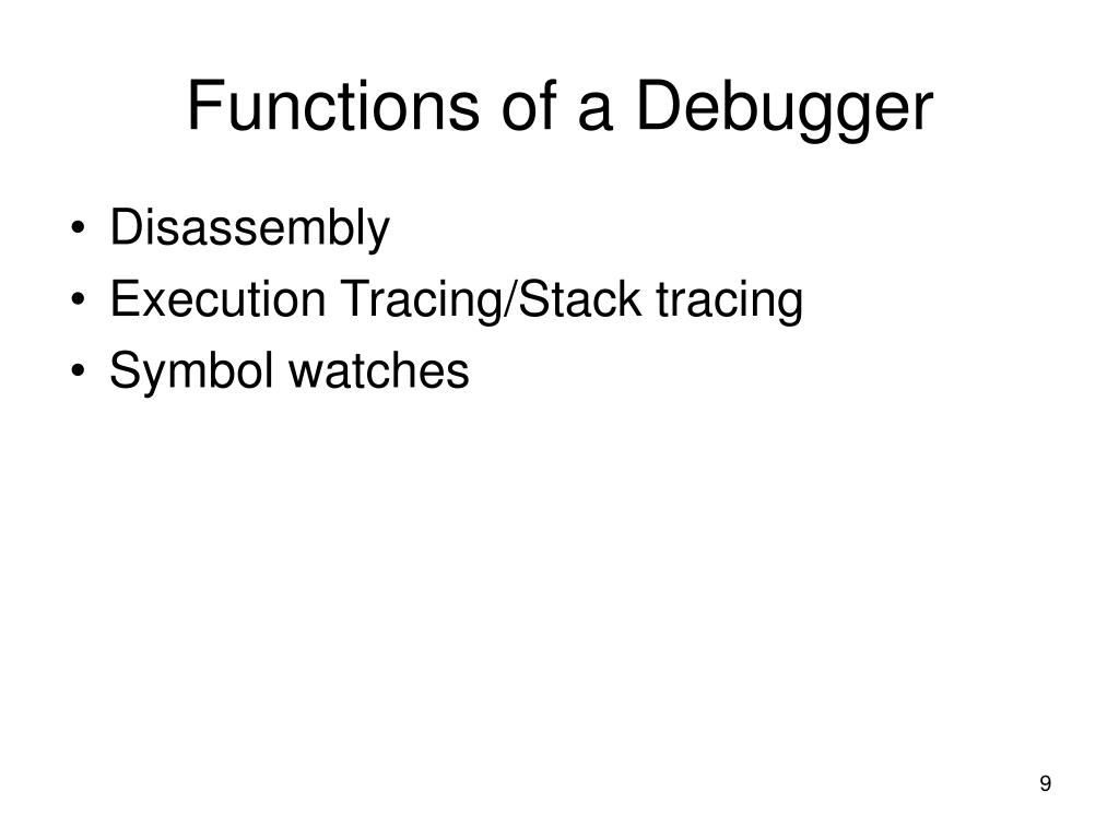 Functions of a Debugger