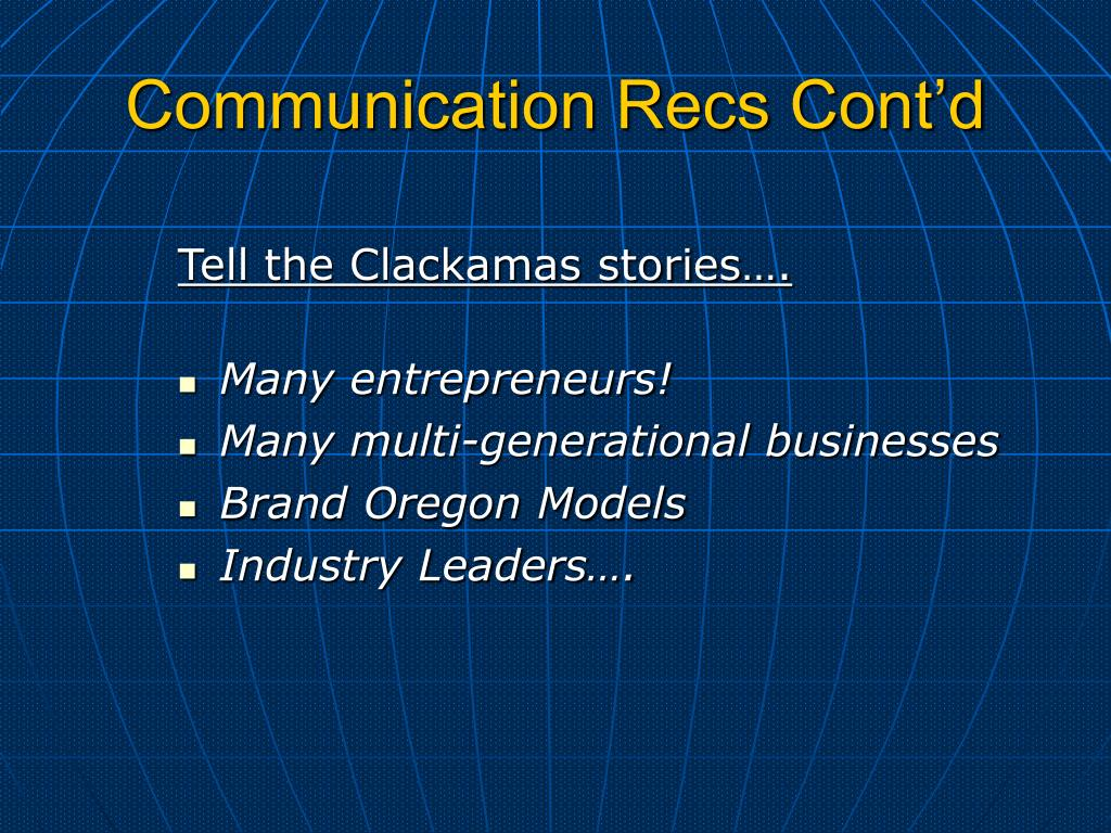 Communication Recs Cont'd